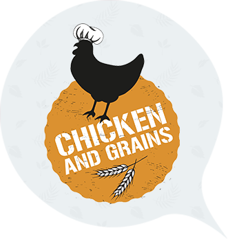 Chicken & Grains Grey Radish Logo